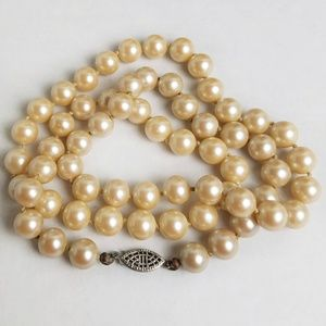 Vintage Beige Faux Pearl Necklace Sterling Clasp